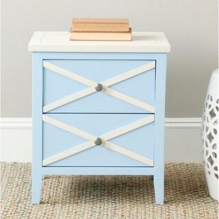 Safavieh Sherrilyn Light Blue/ White Storage 2-drawer Side Table - 0