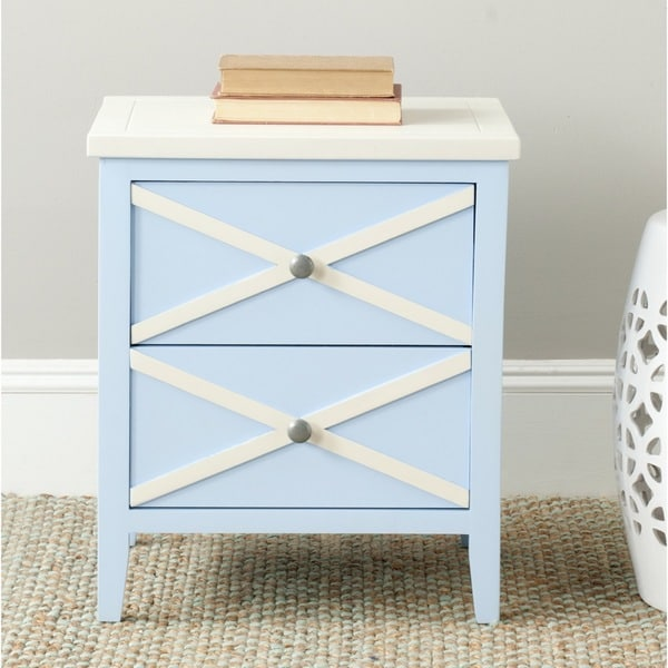 Exceptionnel Safavieh Sherrilyn Light Blue/ White Storage 2 Drawer Side Table