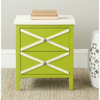 Safavieh Sherrilyn Lime Green/ White Storage 2 Drawer Side Table
