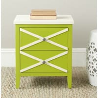 Safavieh Sherrilyn Lime Green/ White Storage 2-drawer Side Table
