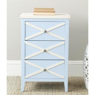 Safavieh Sherrilyn Light Blue/ Cream Storage 3-drawer Side Table