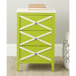 Safavieh Sherrilyn Lime Green/ Cream Storage 3-drawer Side Table