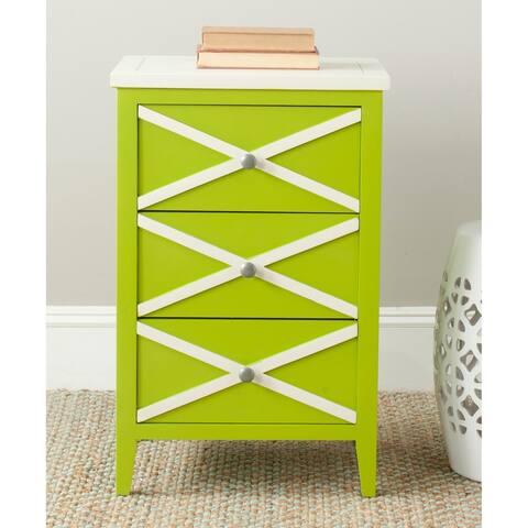 Safavieh Sherrilyn Lime Green/ Cream Storage 3-drawer Side Table - 0