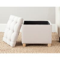 Shop Safavieh Amelia Tufted Light Gold Storage Ottoman
