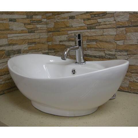 Fine Fixtures White Ceramic Chinaware 23.5-inch Vessel Sink