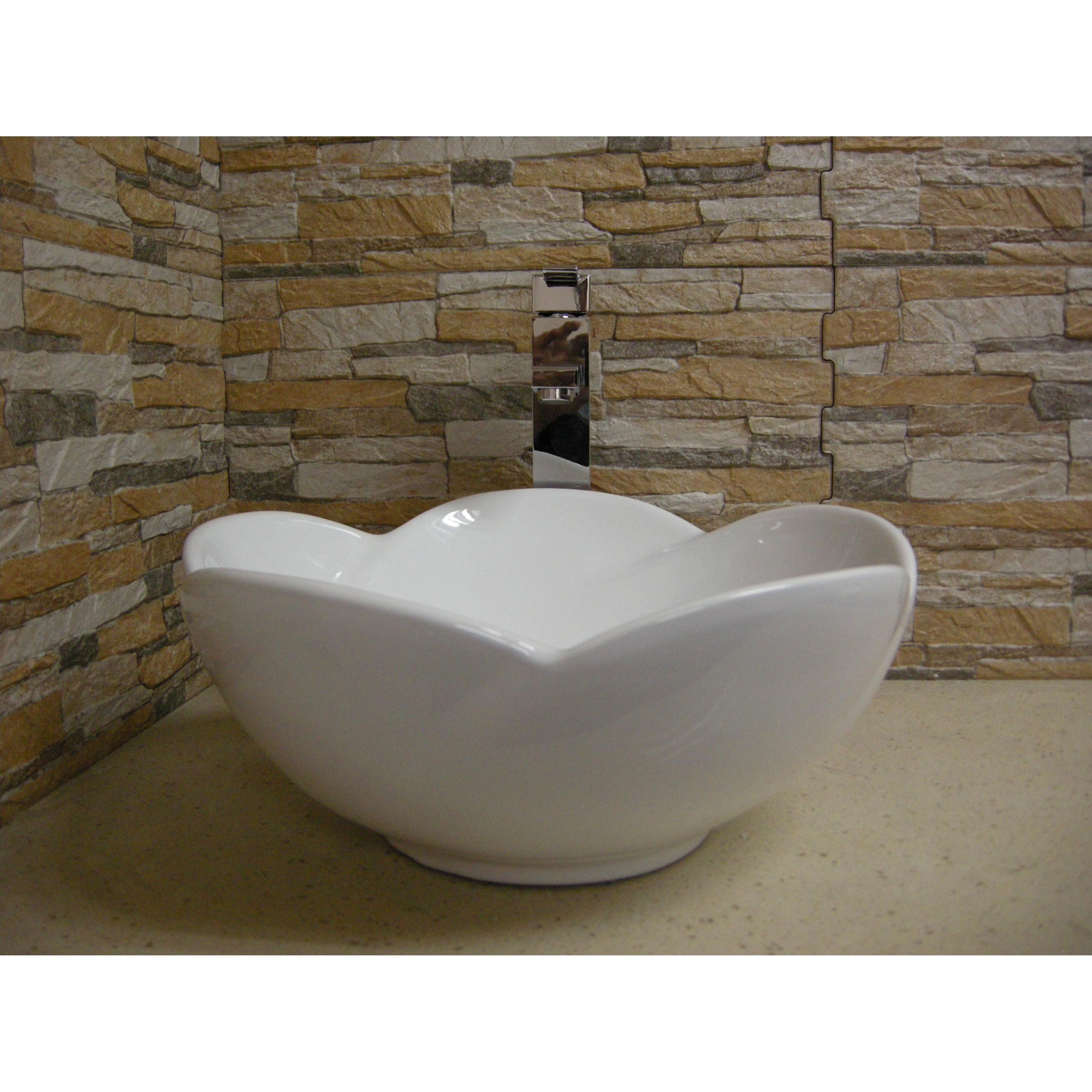 Fine Fixtures White Ceramic Chinaware 15.5-inch Vessel Si...