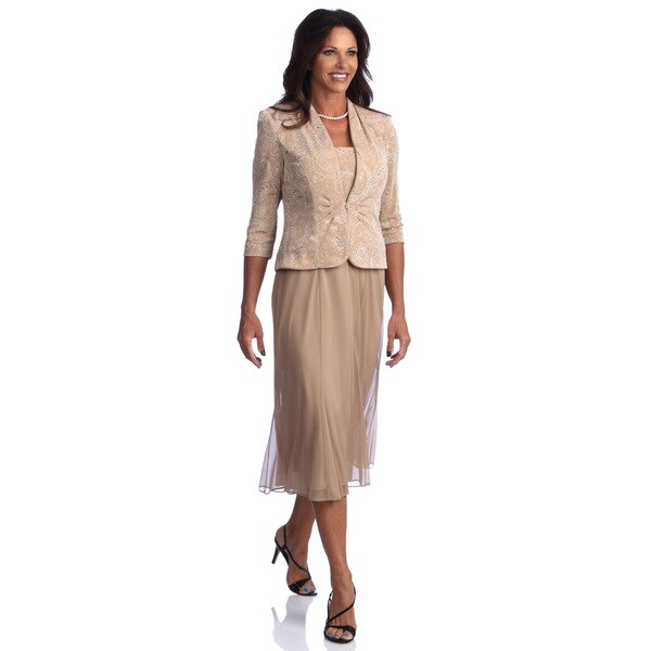 Alex Evenings Women's Plus Size Tea Length Jacket Dress
