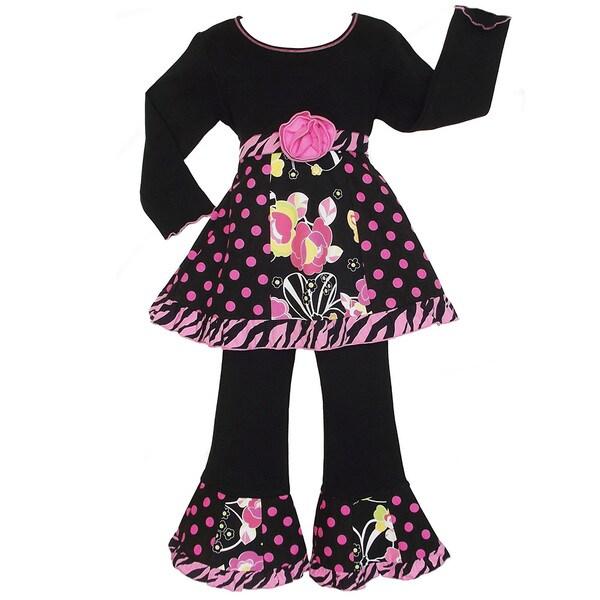 AnnLoren Girls Floral/ Zebra Panel Tunic and Pant Set