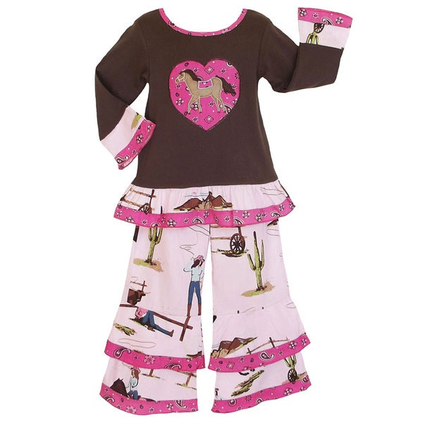 AnnLoren Girls Wild West Pony Top and Pant Set