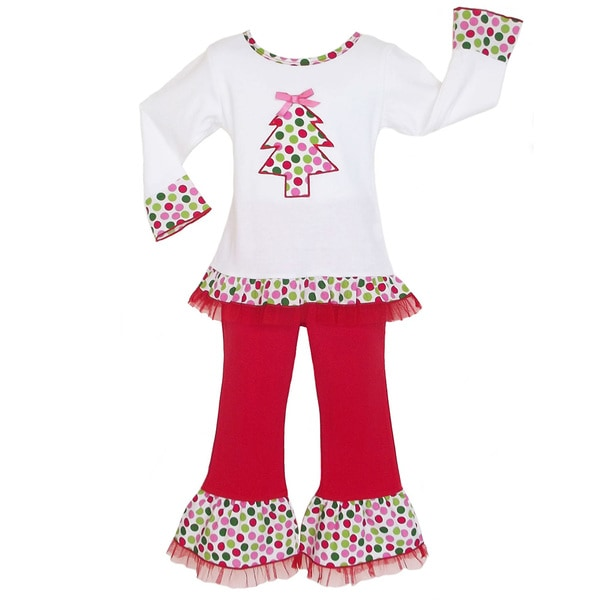 AnnLoren Girls Polka Dot Christmas Tree Tunic and Pant Set