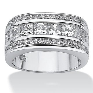 PalmBeach 1.59 TCW Round Cubic Zirconia Platinum over Sterling Sliver Squared Band Glam CZ