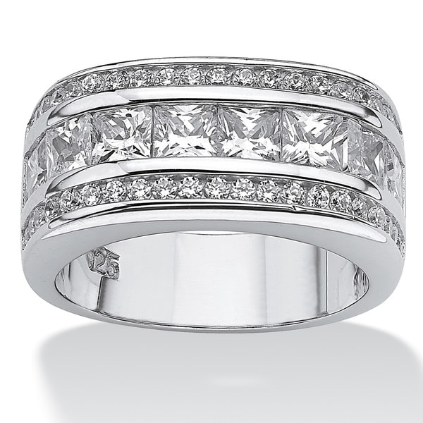 1.59 TCW Round Cubic Zirconia Platinum over Sterling Sliver Squared Band Glam CZ