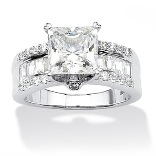 PalmBeach 3.43 TCW Princess-Cut Cubic Zirconia Platinum over Sterling Silver Engagement Anniversary Ring Glam CZ