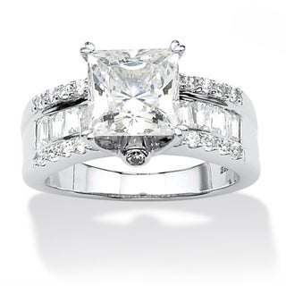 3.43 TCW Princess-Cut Cubic Zirconia Platinum over Sterling Silver Engagement Anniversary