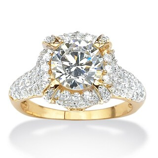 2.96 TCW Round Cubic Zirconia Pave 18k Gold over Sterling Silver Ring Glam CZ