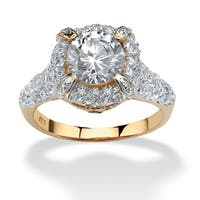 18K Yellow Gold over Sterling Silver Cubic Zirconia Engagement Ring - White