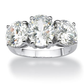 6.54 TCW Oval Cut Cubic Zirconia Platinum over Sterling Silver 3-Stone Bridal Engagement R