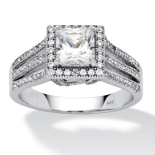 PalmBeach 1.96 TCW Princess-Cut Cubic Zirconia Micro-Pave Platinum over Sterling Silver Engagement Ring Classic CZ