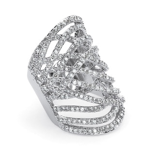 PalmBeach 3.58 TCW Round Cubic Zirconia Platinum-Plated Elongated Ring Glam CZ