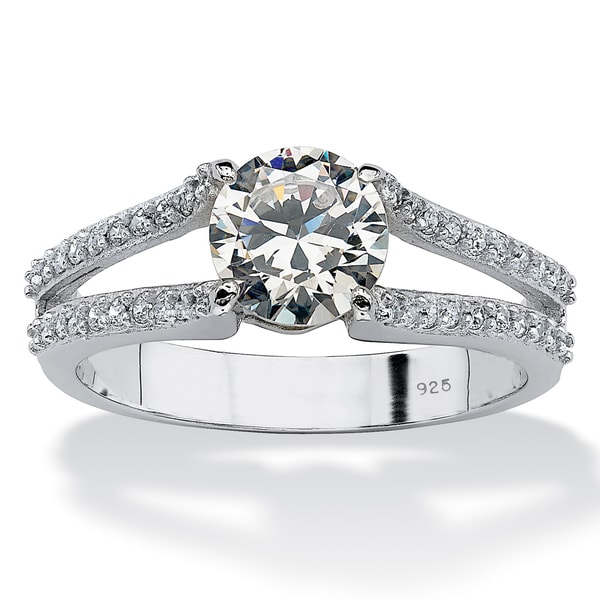 PalmBeach 1.78 TCW Round Cubic Zirconia Platinum over Sterling Silver Engagement Anniversary Split Shank Ring Classic CZ