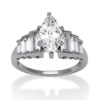 PalmBeach 3.82 TCW Marquise-Cut Cubic Zirconia Platinum over Sterling Silver Ring Classic CZ