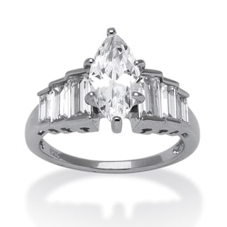3.82 TCW Marquise-Cut Cubic Zirconia Platinum over Sterling Silver Ring Classic CZ