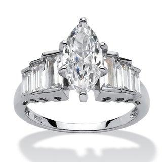 Platinum Over Sterling Silver Cubic Zirconia Step Engagement Ring White