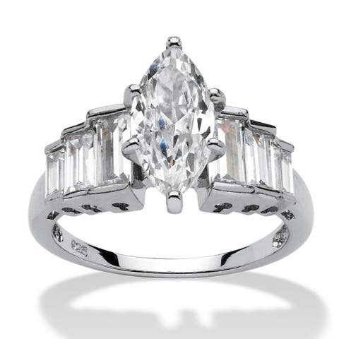 Platinum over Sterling Silver Cubic Zirconia Step Engagement Ring - White