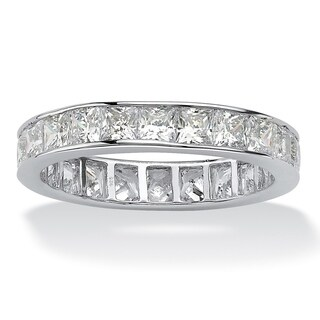 Platinum over Sterling Silver Cubic Zirconia Eternity Bridal Ring - White