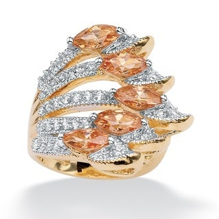 Lillith Star Gold Overlay Champagne and White CZ Ring