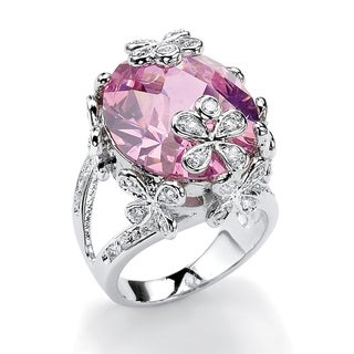 21.42 TCW Oval-Cut Pink Cubic Zirconia Butterfly and Flower Ring in Silvertone Color Fun