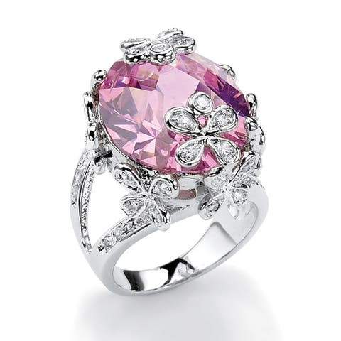 Silver Tone Pink Cubic Zirconia Ring - White
