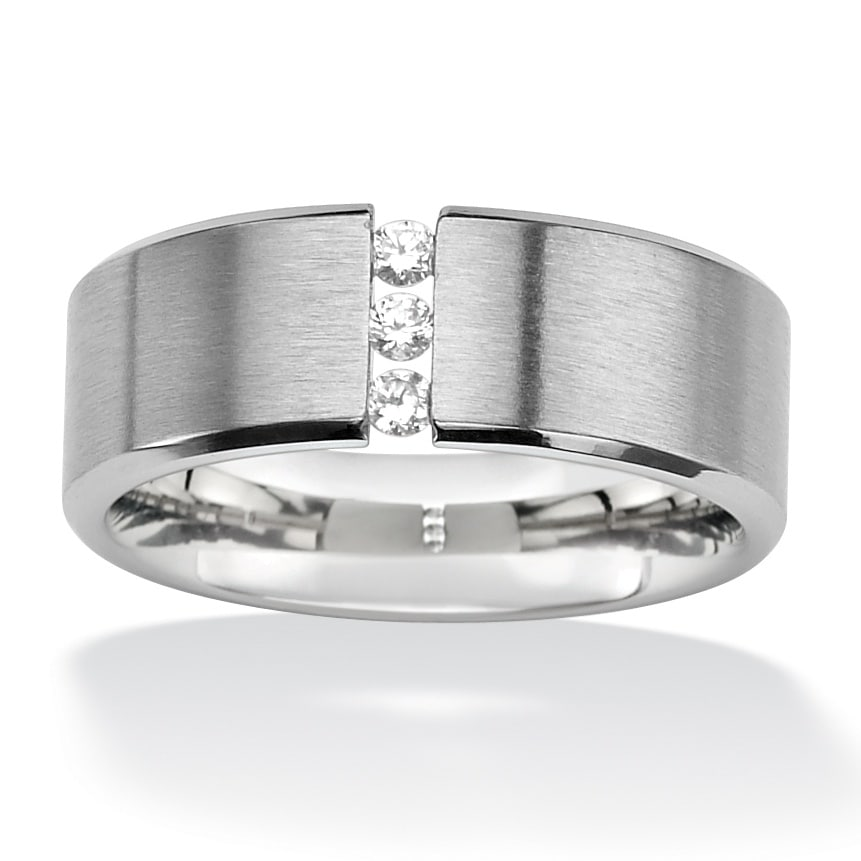 Palm Beach 18 TCW Round Cubic Zirconia Brushed Stainless ...