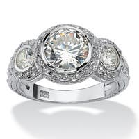 Sterling Silver Cubic Zirconia Vintage Style 3-Stone Bridal Ring - White