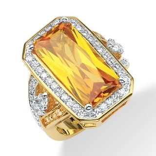 45.52 TCW Emerald-Cut Canary Yellow Cubic Zirconia Cocktail Ring 14k Yellow Gold-Plated Co