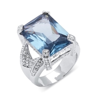 PalmBeach 27.30 TCW Emerald-Cut Blue Cubic Zirconia Silvertone Cocktail Ring Color Fun