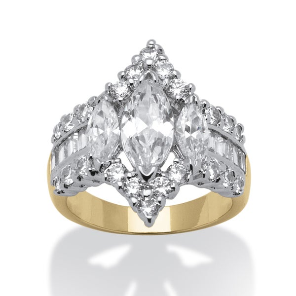 4.91 TCW Marquise-Cut Cubic Zirconia 14k Yellow Gold-Plated Engagement Anniversary Ring Gl