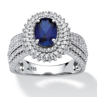 PalmBeach 2.18 TCW Oval-Cut Lab Created Blue Sapphire Halo Ring in Platinum over Sterling Silver Glam CZ