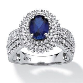 Platinum over Sterling Silver Created Sapphire and Round CZ Ring