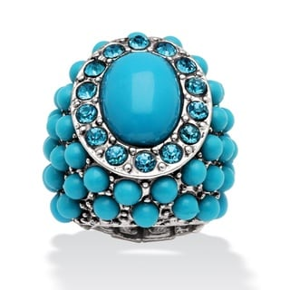 PalmBeach Oval and Round Turquoise and Crystal Accent Silvertone Stretch Ring Naturalist