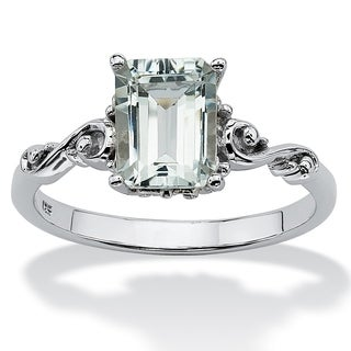 PalmBeach Emerald Cut Genuine Aquamarine Platinum over Sterling Silver Ring