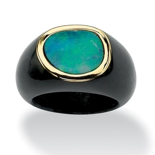 Genuine Bezel-Set Blue Opal Cabochon and Black Jade Ring in 10k Yellow Gold Naturalist