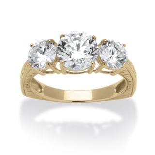 10k Yellow Gold 3 3/5TCW Round Classic Cubic Zirconia 3-stone Engagement/ Anniversary Ring
