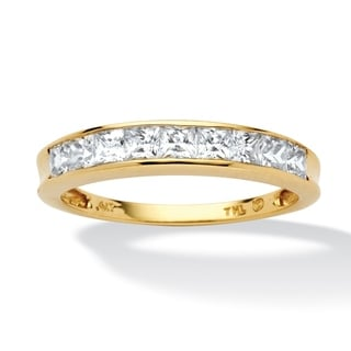 PalmBeach .81 TCW Princess-Cut Cubic Zirconia 10k Yellow Gold Channel-Set Anniversary Ring Wedding Band Classic CZ