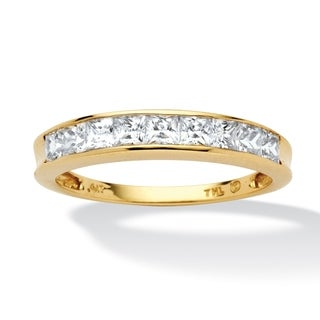 .81 TCW Princess-Cut Cubic Zirconia 10k Yellow Gold Channel-Set Anniversary Ring Wedding B