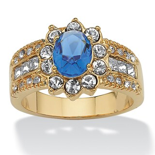 PalmBeach Oval Cut Blue Crystal White Crystal Accent 14k Yellow Gold-Plated Sapphire Ring Color Fun