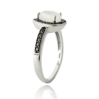 Glitzy Rocks Sterling Silver Moonstone and Black Diamond Accent Teardrop Ring