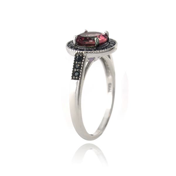 5 Stone Octagon Cut Garnet and Black Spinel Ring Sterling Silver Size 6