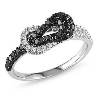 Miadora 10k White Gold 1/2ct TDW Black and White Diamond Buckle Ring