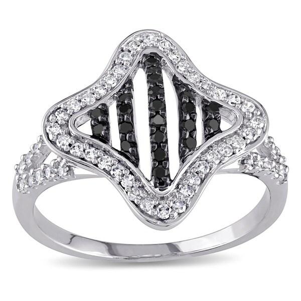 Miadora 10k White Gold 3/8ct TDW Black and White Diamond Ring
